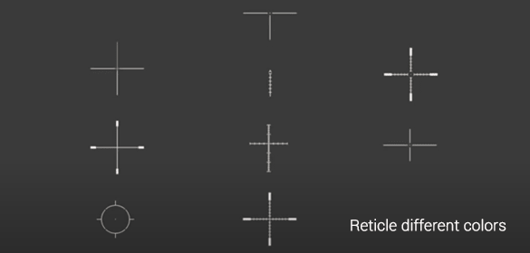 10 reticle options and 9 different colors